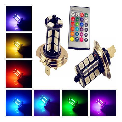2ST 9005 9006 H11 H7 RGB-LED Auto-Auto-Scheinwerfer 5050 LED 27SMD Strobe LED-Nebel-Licht-Kopf-Lampen-Birne mit Fernbedienung