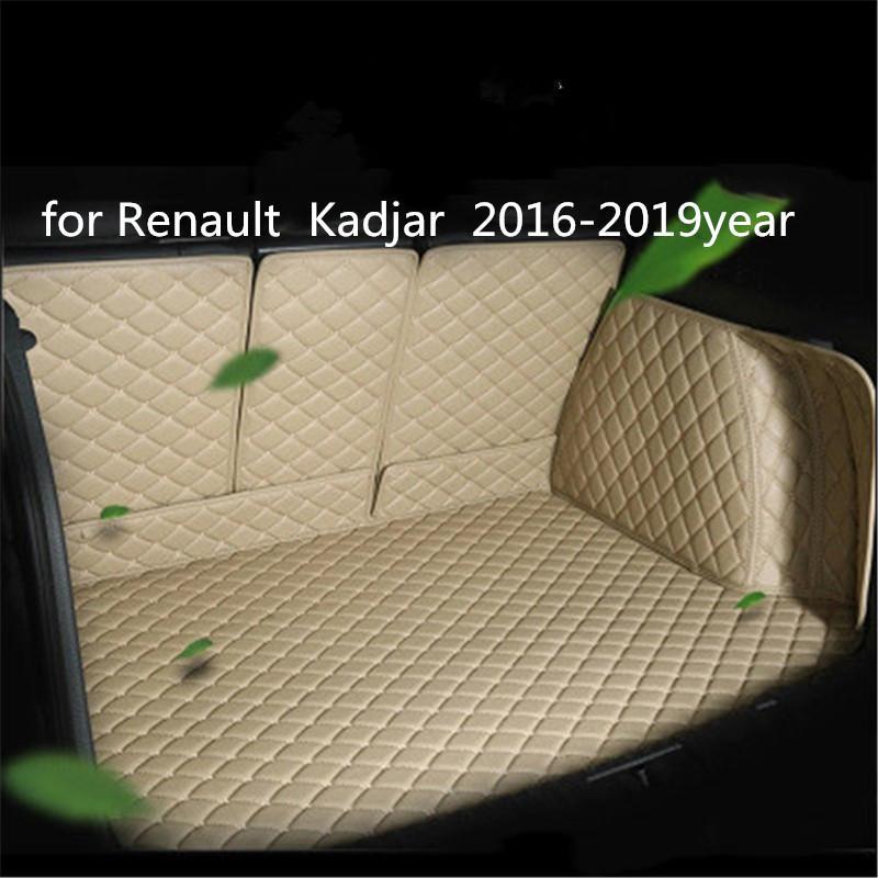 pour Renault Kadjar 2016-2019year voiture cuir Trunk Full Surround Tapis de sol Tapis de palettes