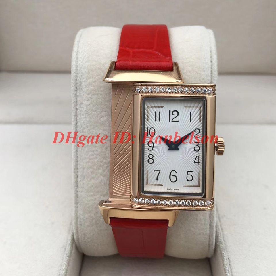Yeni Saatler 3352420 Elmas Dikdörtgen Bayan Saatler Reverso Yüksek Kalite Kılıf Çevirme Fonksiyonu Deri Kayış Kuvars Kol Saati