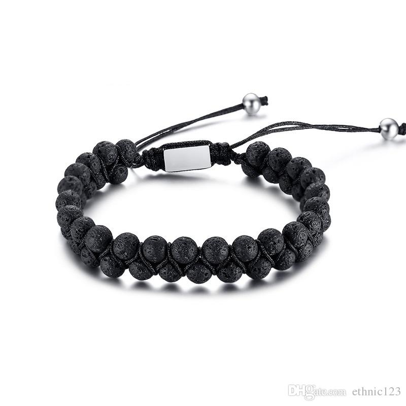 Black Fashion Simple Men's Bangle Stainless Steel Lava Stone Beads Bracelet Watchband Jewelry Gift for Men Boys J587