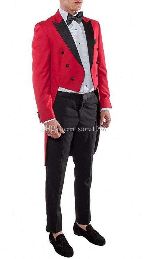 Style Tailcoat Groomsmen Peak Topsed Groom Tuxedos À double boutonnage Hommes costumes Mariage / Bal / Dîner Meilleur Homme Blazer (Veste + Pantalon + Cravate) B448