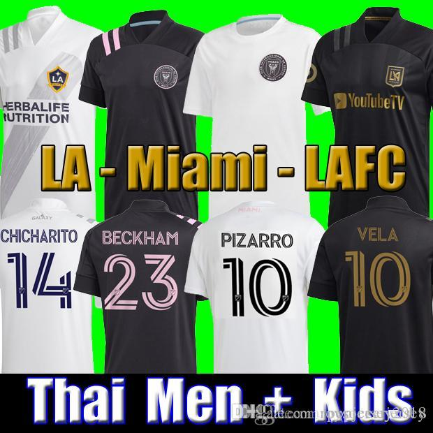 Top Thai 2020 Inter Miami Beckham Pizarro LAFC Vela Soccer Jersey 2021 Los Angeles FC La Galaxy Chicharito Camisa de Futebol Homens Kits Kits Conjuntos