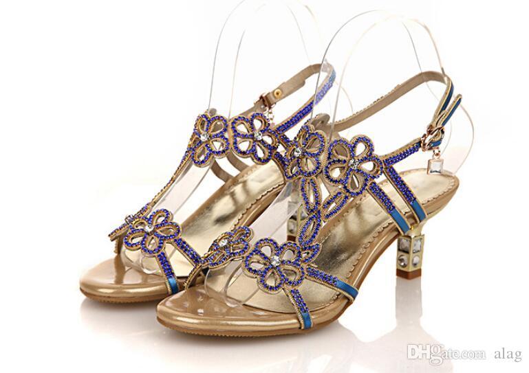 Strass Mulheres Sandálias De Couro Genuíno Verão Sandálias Dedo Aberto Do Dedo Do Salto Grosso Sapatos de Salto Alto Azul Ouro Mulheres Sapatos de Gaze NXX110
