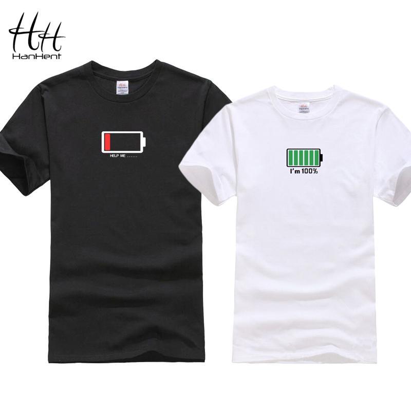 Hanhent Funny Battery Design 2019 Camiseta para parejas Regalo de San Valentín Camisetas Amantes Hip Hop Camiseta Homme Camisetas Camisa
