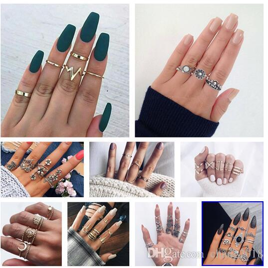 10 styles Bohemian Vintage Gold Crescent Geometric Joint Ring Set for Women Crystal Personality Design Ring Set Party Jewelry Gift ALXY02