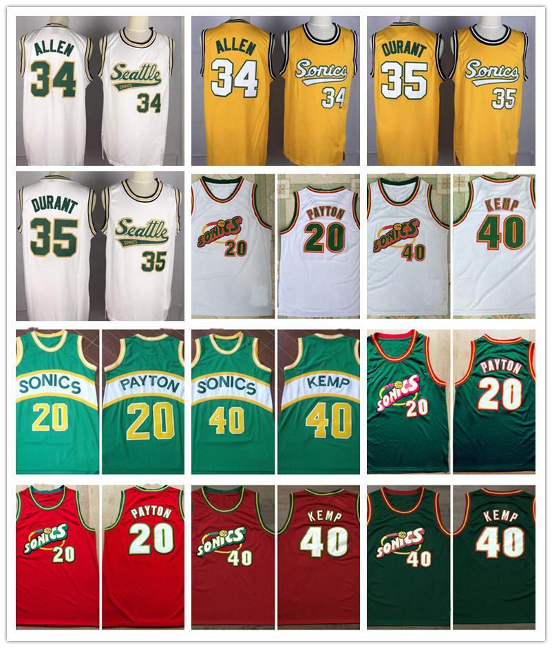 SeattleSupersonics Basketball Retro Allen 34 Aller Jersey 35 Kevin Durant 40 ShawnKemp 20 Gary Payton nbaRoter Goldener Trikots