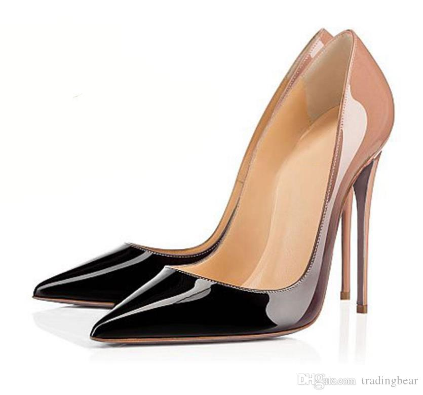 SALE plus size 33 to 46 red bottom pump genuine leather bridal wedding shoes pointed toe stiletto heels woman high heels tradingbear