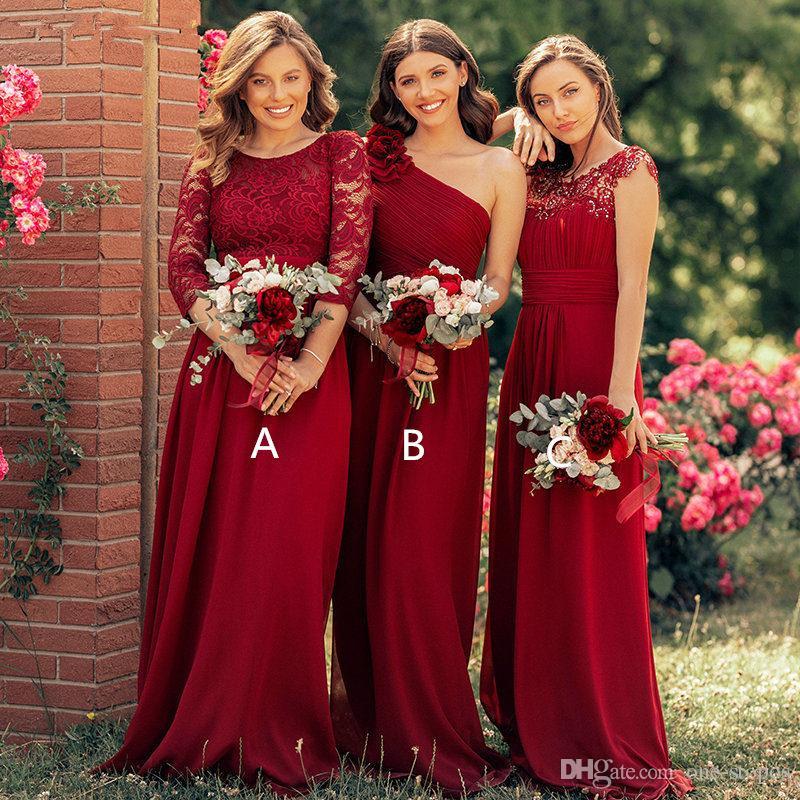 2020 Bordo Dantel Aplike Chiffonbridesmaid Elbiseleri Ucuz A-Line Artı Boyutu Örgün Balo Akşam elbise Uzun Hizmetçi Onur Elbise