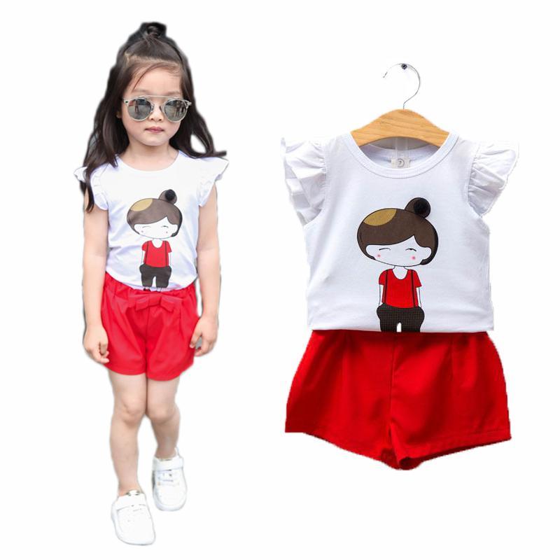 2pcs Girls Kids Summer Outfits Clothes Ruffled Sleeve Top+Shorts Pants Set 2-8 Y