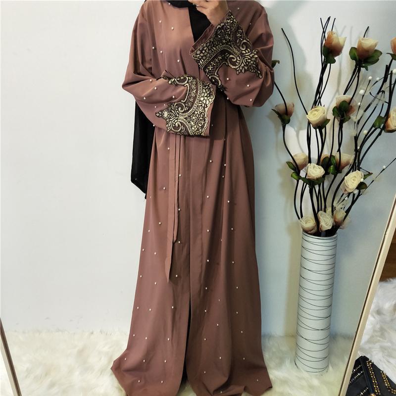 Ramadan Abayas per le donne Abito hijab musulmano caftano Kimono cardigan Abaya Kaftan Dubai Qatar Eae Oman Robe Femme Abbigliamento islamico