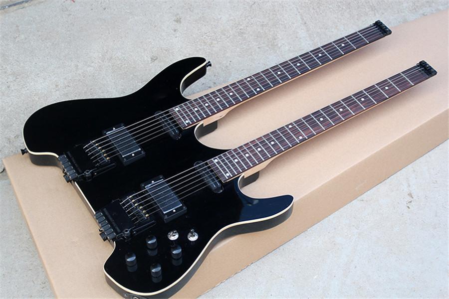 Двухместный шеи без головы, электрическая гитара с черным аппаратным обеспечением, связыванием тела, палисандр, можно настроить