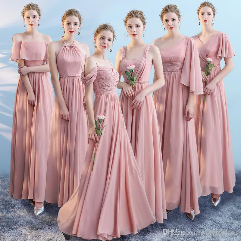 Dusty Pink Cheap Chiffon A-line Bridesmaid Dresses Plus Size Long Wedding Guest Gown Formal Party Prom Evening Dresses