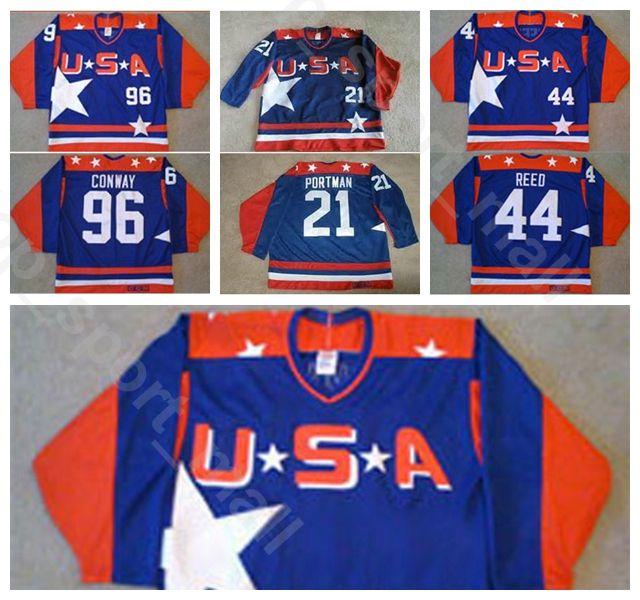 Homens De Hóquei No Gelo EUA Filme Jerseys Vintage 96 Conway Charlie 21 Dean Portman 44 Fulton Reed Jerseyss Equipe Cor Azul Tudo Costurado Qualidade