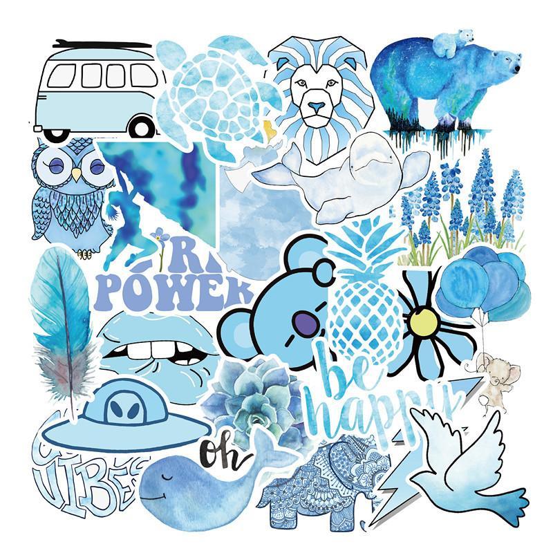 50pcs Lote azul fresco pequeño arte extraíble impermeable de PVC etiquetas portátil Monopatín Guitarra equipaje caja del coche de la bici Graffiti Pegatinas