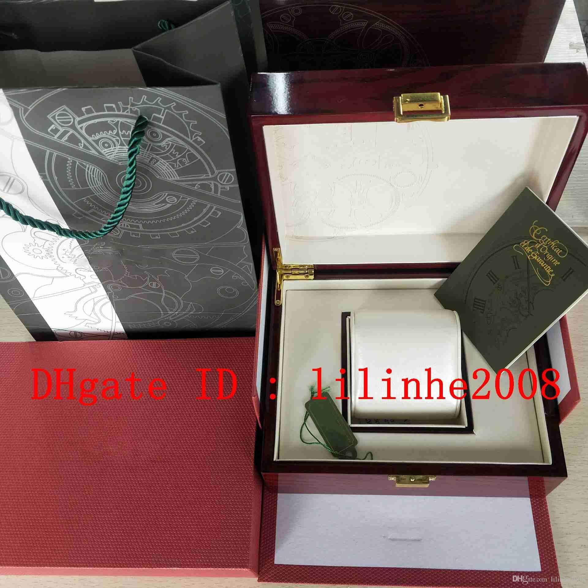 Luxo de Alta Qualidade Assista Caixa Original Papers Caixas De Madeira Vermelha Bolsa de Presente relógio Para 15400 15710 3120 3126 7750 Relógios de Mens Relógios De Pulso