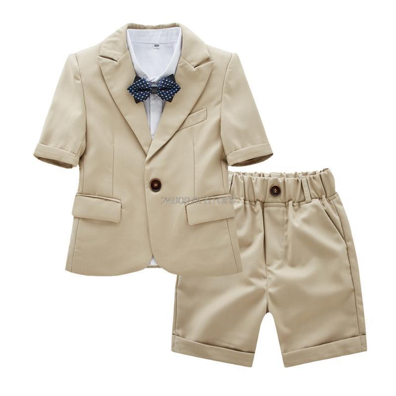 2020 Kinder Hawaii Jacke + Shorts 2Pcs Anzug Blume Jungen Formale Geburtstags-Smoking Kids Spring School Host-Tanz-Anzug Kleidung Set
