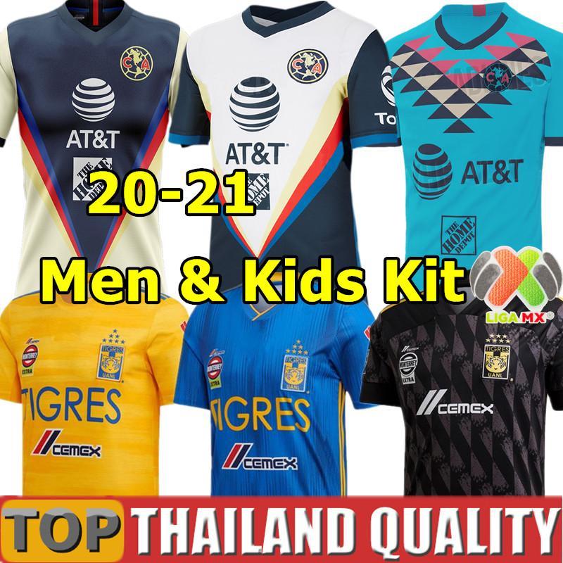2020 LIGA MX Club America Futebol HENRY CASTILLO 20 21 Tigres 7 Stars Naul camisa de futebol set uniformes Homens Crianças Kit