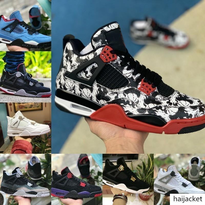 Con Box 2019 nuevos zapatos de 4 Tatuaje Jack Travis Scotts X de baloncesto del Mens caliente de la venta 4S Cemento Houston engrasador blanca Raptors barato libre de las zapatillas de deporte