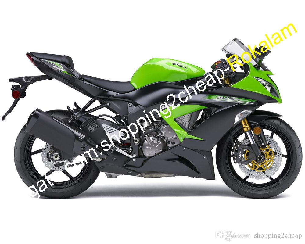 Для Kawasaki Ninja Shell ZX-6R 2013 2014 2018 ZX 6R 636 ZX636 ZX-636 13 14 15 16 17 18 ZX6R зеленый черный Мото обтекатель комплект (литье под давлением)