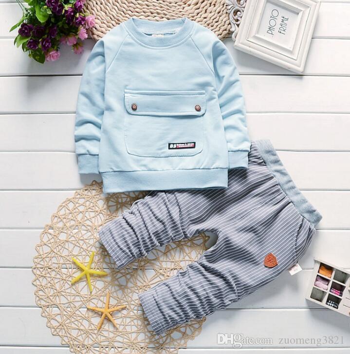 Bambini delle ragazze dei ragazzi cotone Set di abbigliamento di moda per bambini Giacca Gentleman pantaloni 2pcs / set di molle autunno formali del bambino Tute