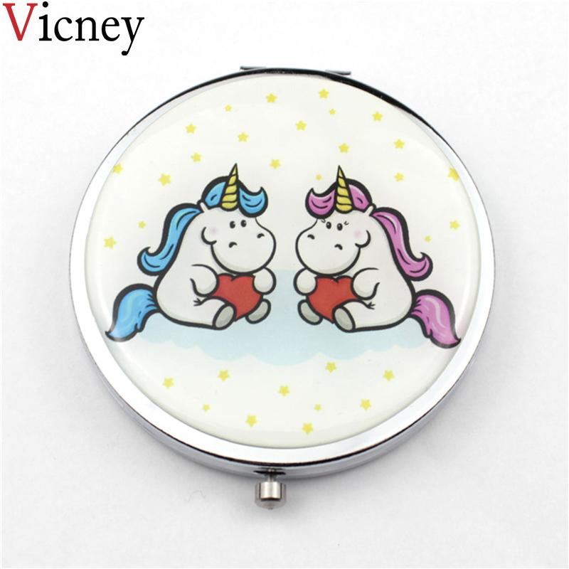 Vicney New Mini Cartoon Pocket Cosmetic Mirror Fashion round Makeup Mirrors Compact Beauty Double-sided Mirror Magnifier