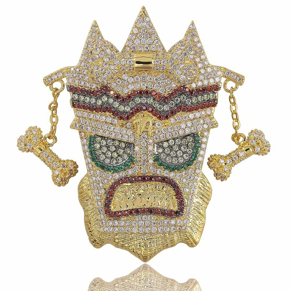 New Iced Out Uka Mask Solid Pendant Necklace Mens Personalized Micro Paved Hip Hop Gold Silver Color Bling Charm Chains Jewelry J190712