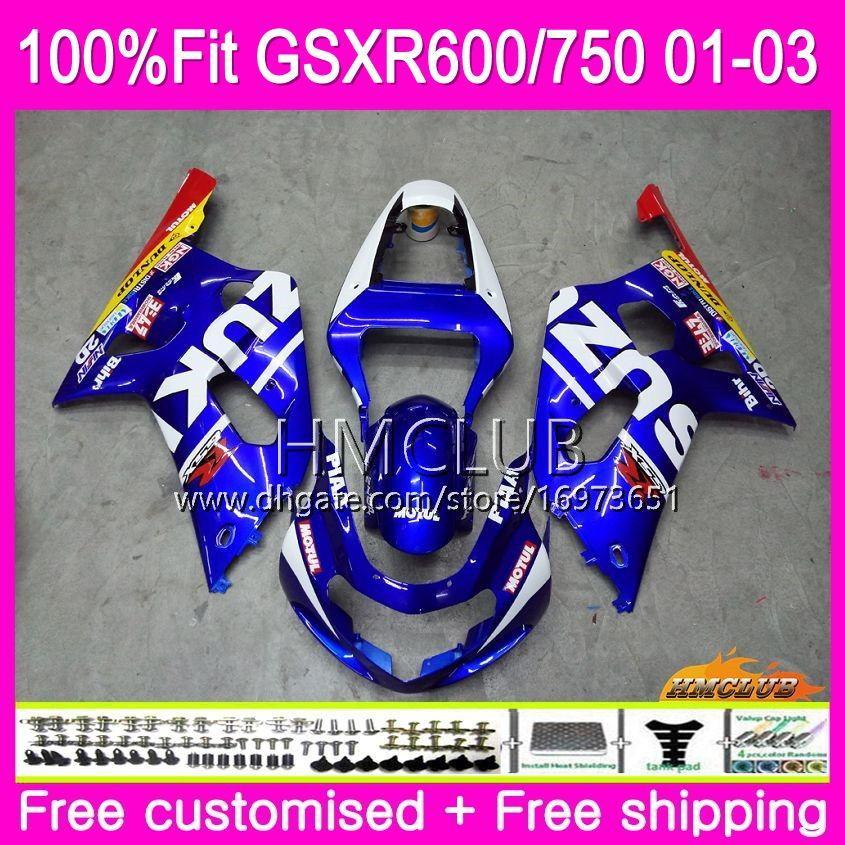 スズキGSXR 600 750 GSX-R750 GSXR600 01 02 03 4HM.0 GSX R600 GSX R750 K1 GSXR-600 2002 2003 2003フェアリングファクトリーブルー