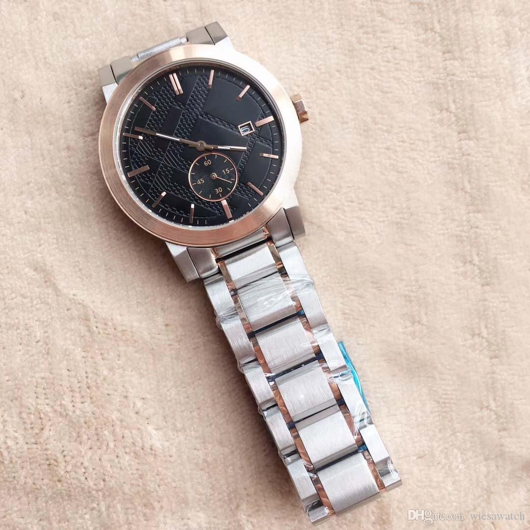 Freies Verschiffen neues Desigh 42MM Kleid Zwei Ton-Schwarz-Vorwahlknopf Mens-Uhr-Quarz-Batterie Chronograph Datum-Mann-Uhr-Edelstahl-Armband