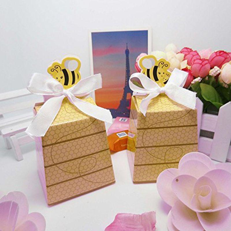 50 قطعة / الوحدة عيد زخرفة حزب ورقة مربع عسل النحل الحلوى مربع مع القوس التعادل استحمام الطفل لصالح الزفاف تفضل والهدايا