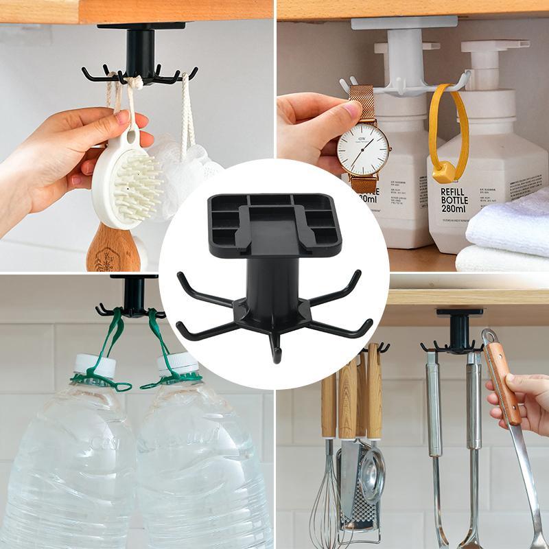 Neue heiße Küche Gratis Perforierte Haken Küchen-Wand-Storage Rack Rotation Haken spatel Küchen Lagerung Rotary Haken