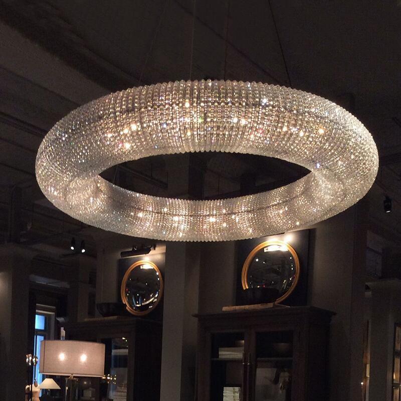 Luxo cristal Sala Chandelier Anel LED Modern Hotel Engenharia Luz decorativa Nordic simples lâmpada