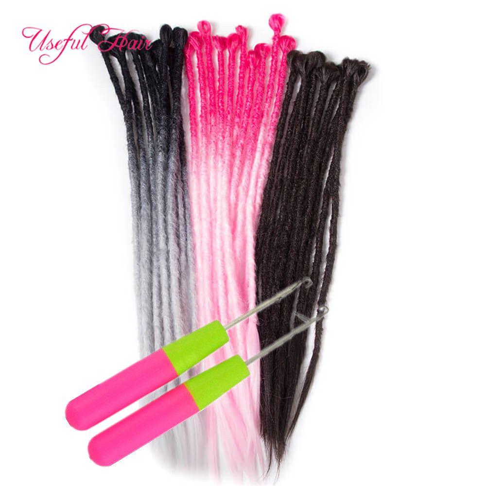 extensions de cheveux crochet à la main Dreadlocks Extensions cheveux 24 pouces Couleur des cheveux Ombre Crochet synthétique Crochet Braid pour les femmes CROCHETS