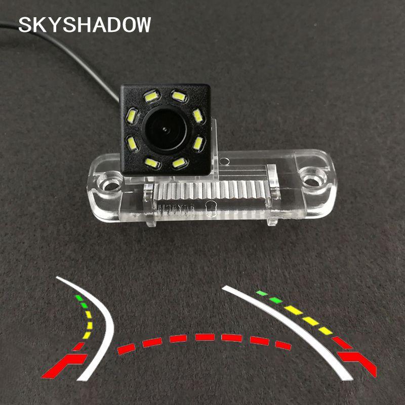 Carro sem fio HD CCD câmera traseira Fisheye 4 8 12 dinâmica LED para R Classe R350 R500 ML350 W203 W211 B200 A160 W219