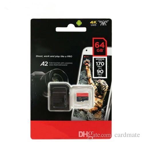 2019 Nova Chegada Preto Android 32G 64G 128G 256G 80 mb / s Classe 10 Cartão De Memória TF Flash com Adaptador SD Livre Pacote de Varejo DHL grátis