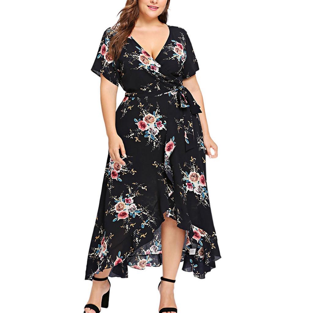Compre Tallas Grandes Con Estampado Floral Tunica Vestido De Las Mujeres Vestido Elegante De La Camisa De La Vocacion Xl 3xl Vestido Maxi Del Partido Bohemio Vestido A 15 88 Del Meinuo003