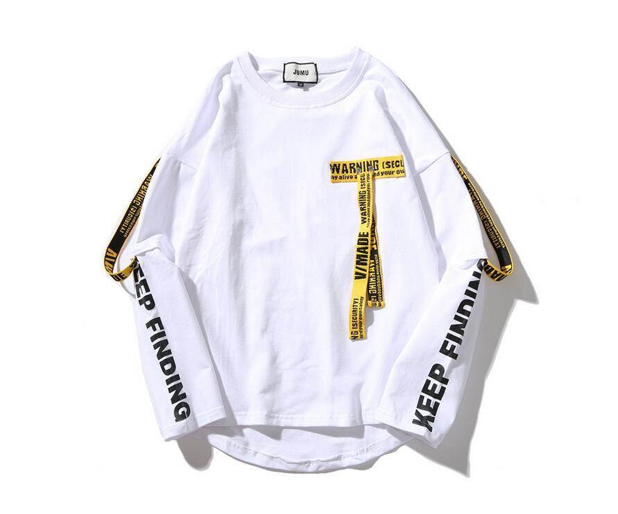 남성 디자이너 혼자 슬리브 리본 T 셔츠 힙합 패션 라운드 넥 가짜 2 조각 부어 옴스 셔츠 6612