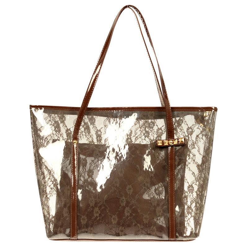 PVC-Spitze-Frauen-Tasche Sommer-Beutel-Strand-Beutel-Schulter-Mode-Handtasche Kunststoff klar Transparent Weiß Rosa Farbe