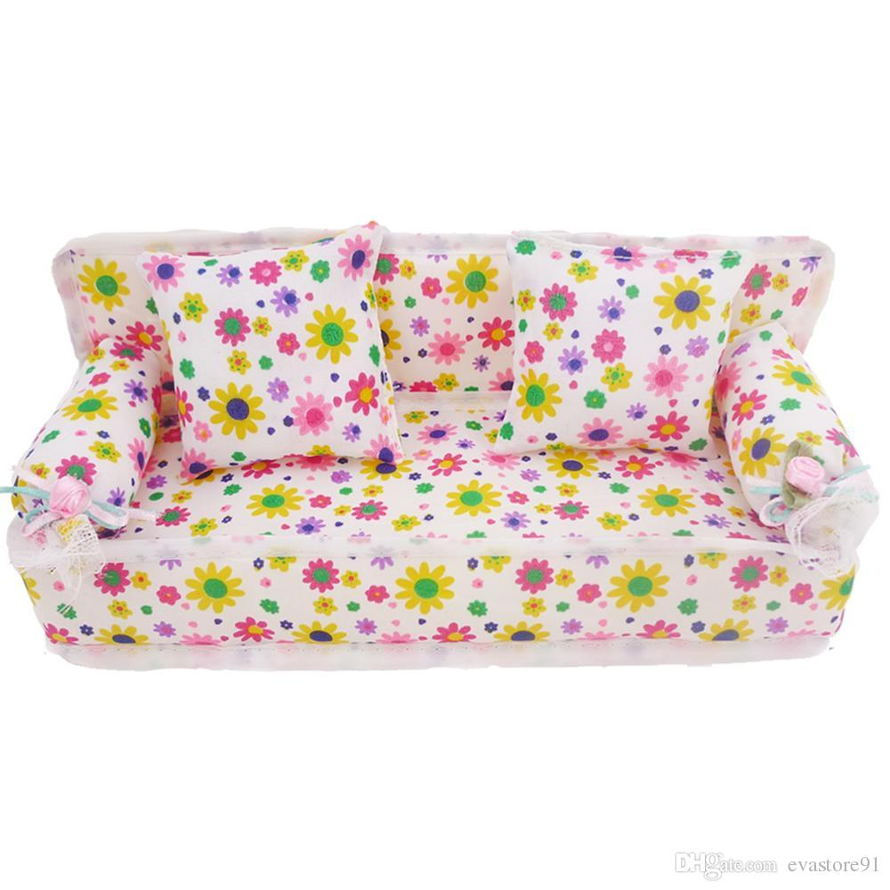 1x Mini Furniture Sofa Couch 2 Cushions//Pillows For Doll House Accessories XMAS