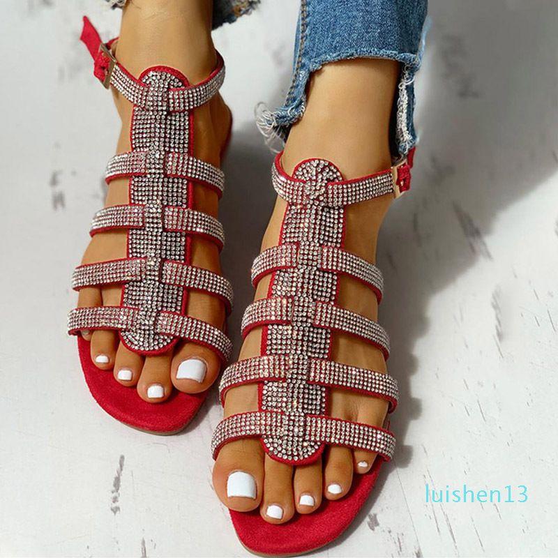 Yaz Kadın Düz Ayak bileği Kayış Sandalet Bayan Toka Glitter Gladyatör Beach Ayakkabı Kadınlar Kristal Bling Bayanlar Moda Artı boyutu L13
