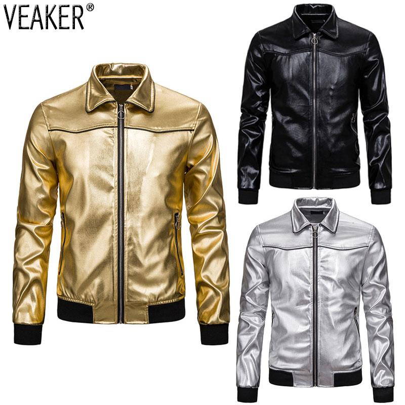 2019 New Men's Nightclub Shiny Gold Jackets Coat Male Solid Color Slim Fit Turn-down Collar Jacket Outerwear S-2XL