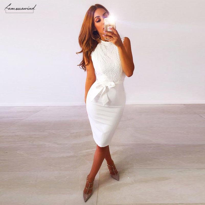 Partido del cordón blanco del vestido del verano de las mujeres sin mangas atractivo Vestido con el cuerpo de la vendimia elegante ropa de diseño del verano del vestido Vestido Casual