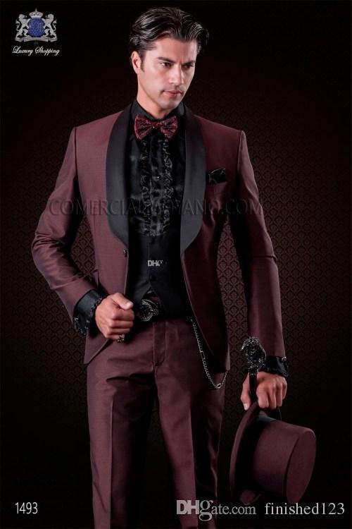 Yeni Varış Bir Düğme Bordo Düğün Damat Smokin Şal Yaka Groomsmen Erkekler Balo Blazer Suits (Ceket + Pantolon + yelek + Kravat) NO: 6099