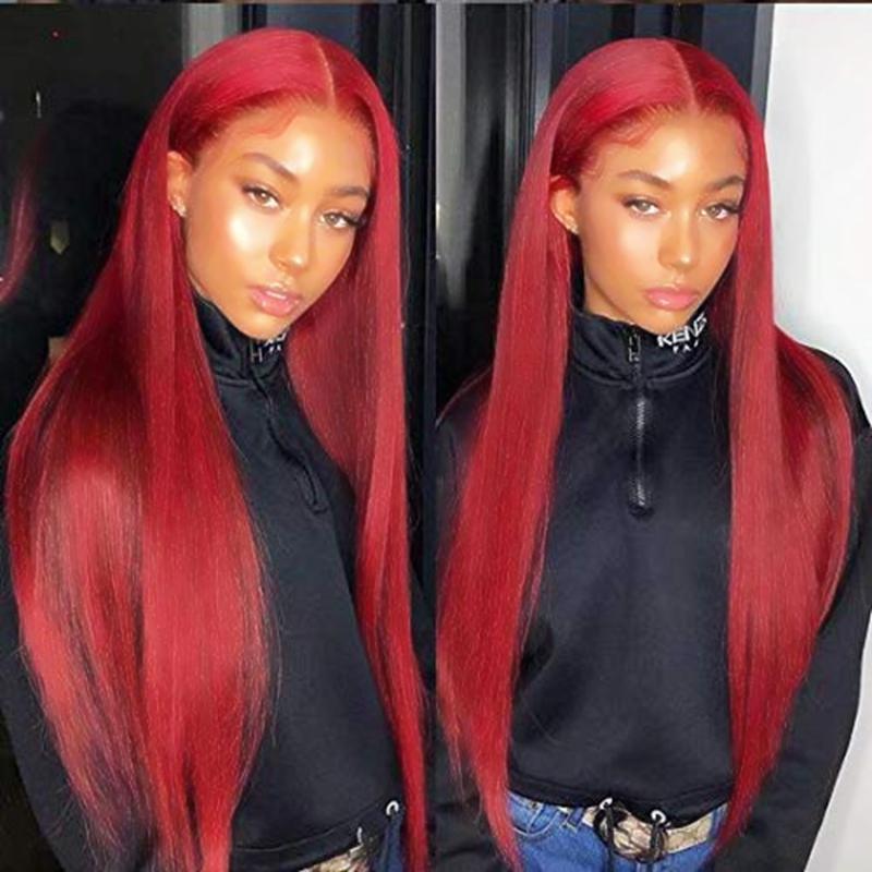 Halloween Sexy bordeaux vino rosso lungo diritto serico parrucca anteriore in pizzo sintetico fibra resistente al calore naturale linea sottile per capelli per le donne