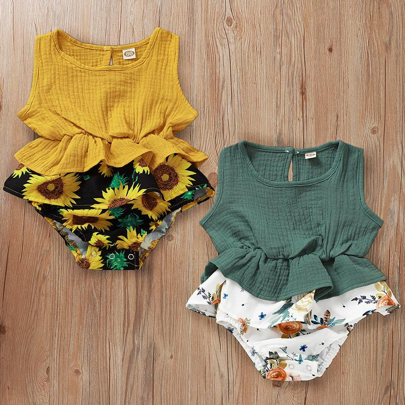 UK STOCK Baby Girl Infant Sunflower Ruffle Romper Jumpsuit Outfit Sunsuit Summer