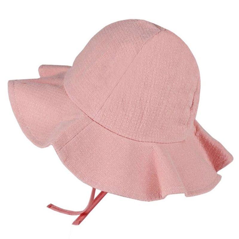 KLV 2018 Wide Brim Baby Sun Hat Cotton Kids Bucket Cap Summer Beach Girls Travel Outdoor D19011106