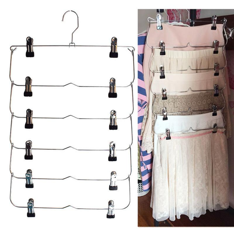 6 Layers Space Saving Pants Skirts Organizer Non-Slip Foldable Steel Closet Wardroble Hanger with Clips Home Multifunction Rack SH190918