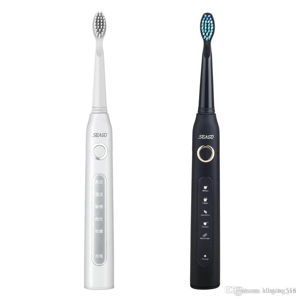 SEAGO SG 507 Electric Toothbrush USB Charging Rechargeable Sonic Tooth Brush Waterproof Tooth Cleaner with 3pcs Replacement Head