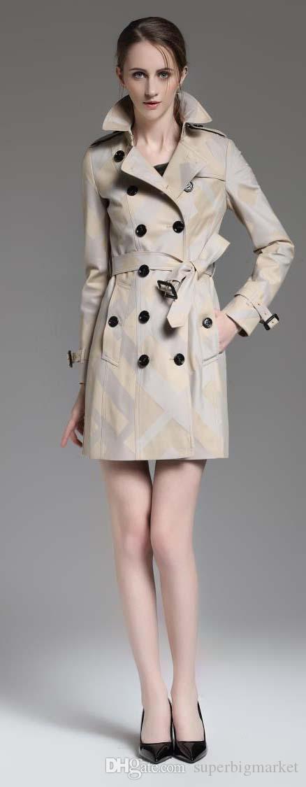 Nouveau design! femmes Angleterre britannique à double manteau Trench / haute qualité tranchée d'hiver à carreaux design de la marque pour la taille des femmes S-XXL B8260F310