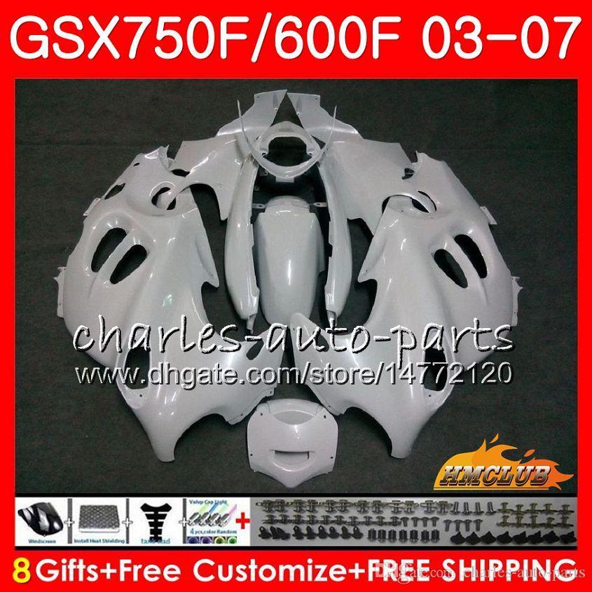 Kit de cuerpo para Suzuki Katana GSXF600 Pearl White GSXF750 03 04 05 06 07 3HC.37 GSX750F GSX600F GSXF 750 600 2003 2004 2005 2006 2007