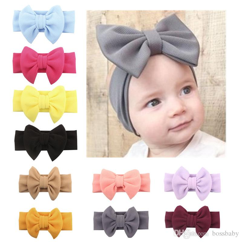 Baby Girls Headband 11 Color Kids Solid Bow-tie Hairbands Kids Design Headwear Infants Baby Cotton Hair Bands 06